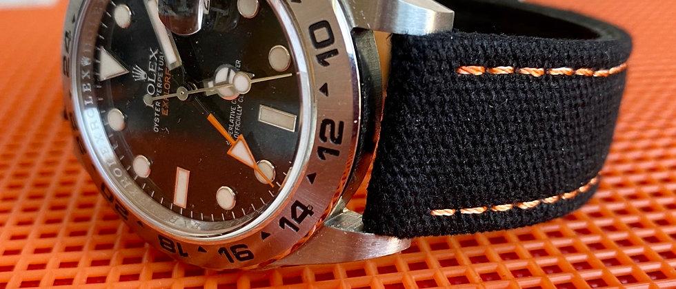 BLACK Canvas & Leather strap ORANGE stitching
