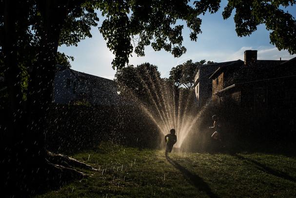 Sprinkler at Sunset