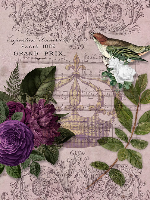 Royal Music Purple Bird and Flowers with Crown Rice Paper