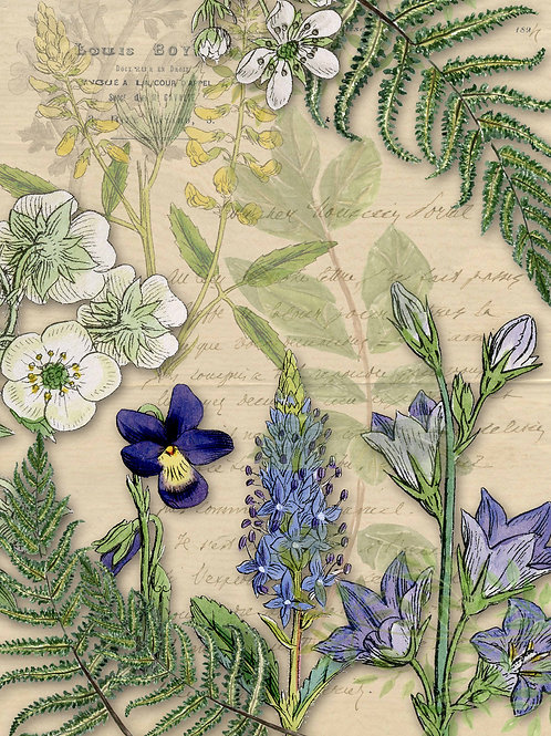 Botanical Letter with Wildflowers Rice Paper