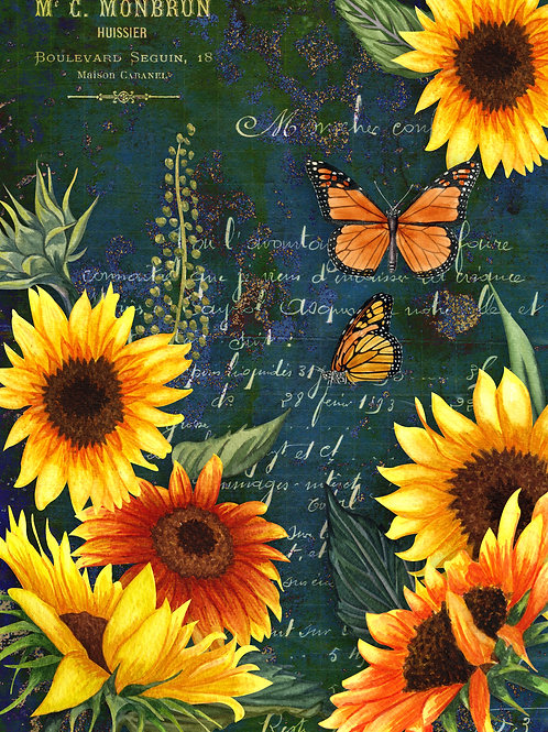 Sunflowers and Monarch Green Butterfly Rice Paper