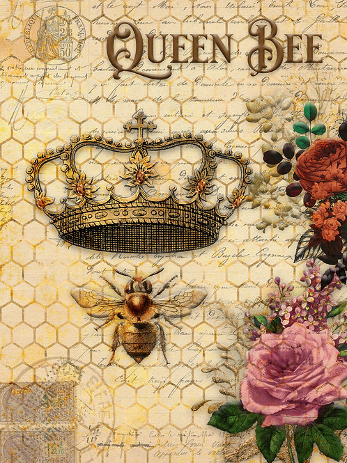 Queen Bee and Roses with Honeycomb