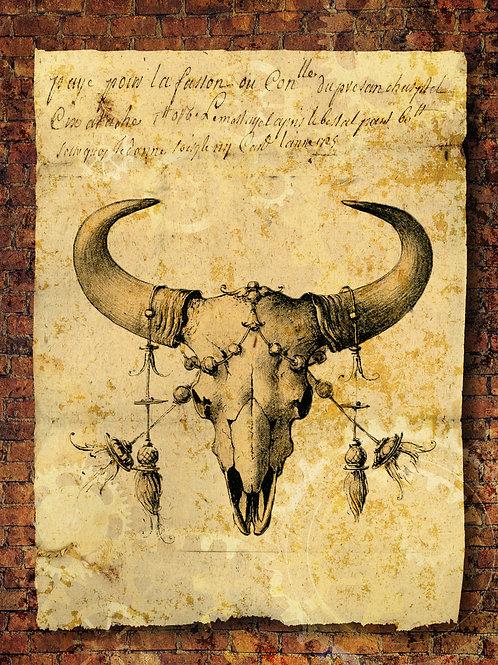 Grunge Bull Skull with Brick Background Rice Paper