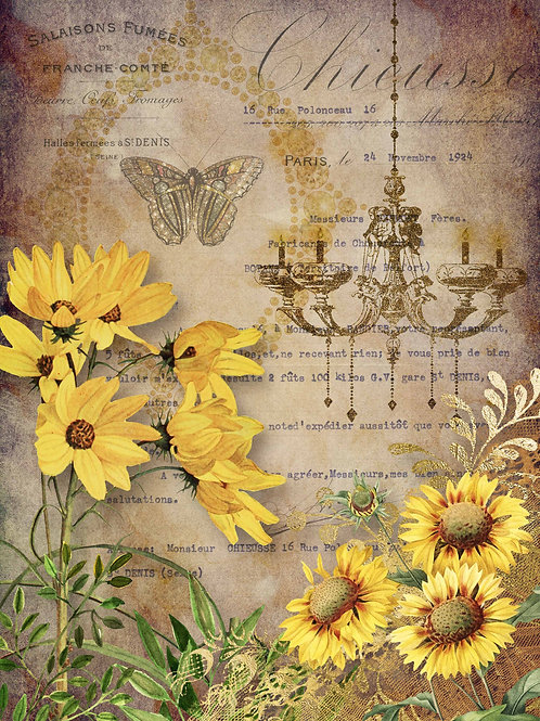 Elegant Sunflowers with Chandelier Rice Paper
