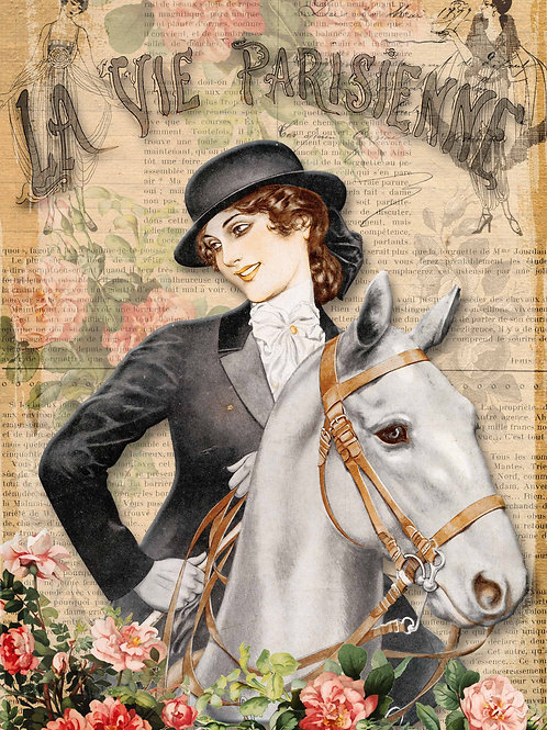 La Vie Parisienne Girl with Horse French Rice Paper