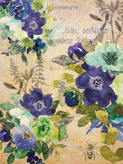 Watercolor Blue and Green Floral Rice Paper