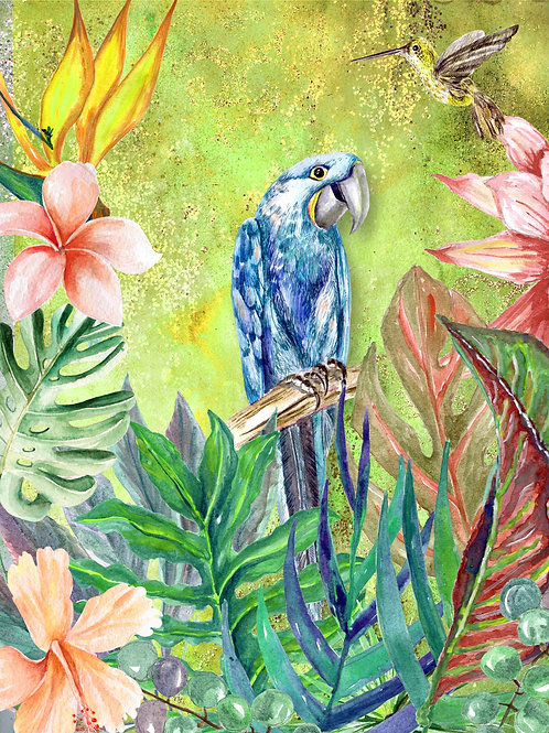 Tropical Bird with Green Background Rice Paper