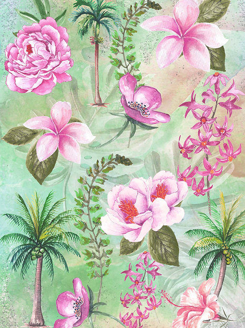 Tropical Floral Collage Rice Paper