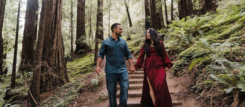 A Forest Engagement Session - Muir Woods National Monument & Muir Beach - Erica & Wade