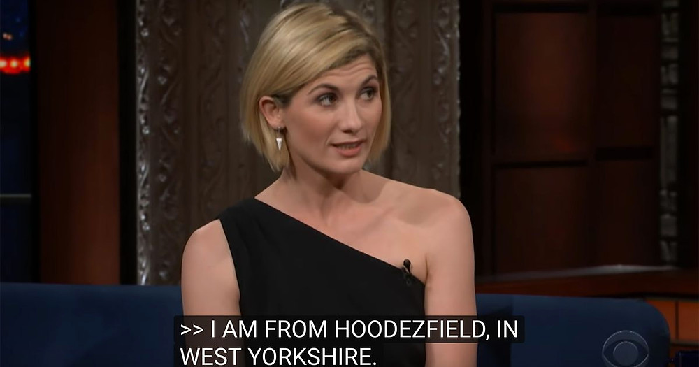 Jodie Whittaker chatting on a US talk show but subtitler has never heard of Huddersfield