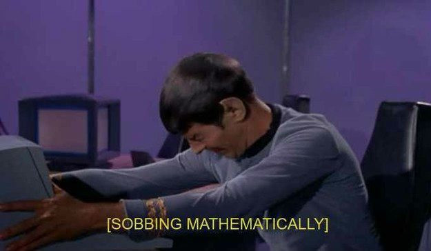 "Image of Spock crying in original Star Trek - subtitles state that he is ""Sobbing mathematically"""