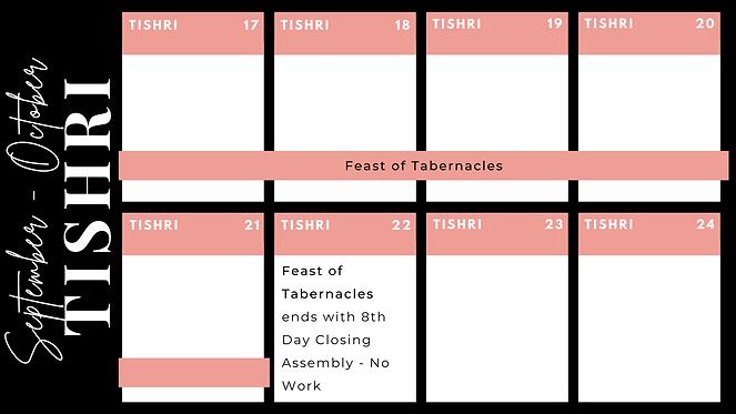 Fall Feasts Calendar