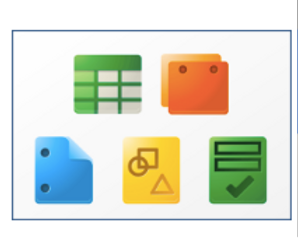 Google icons for sheets, docs, slides, drawing, and forms