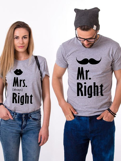 PLAYERAS MR RIGHT MRS RIGHT