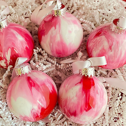 Ornament Set of 5: Red and White