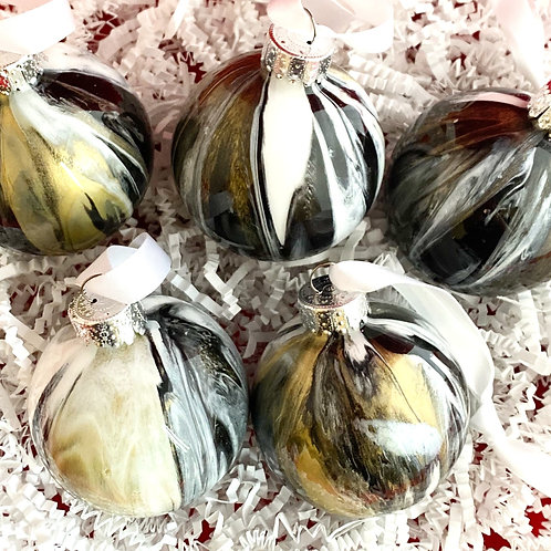 Ornament Set of 5: Black, Gold, Silver and White