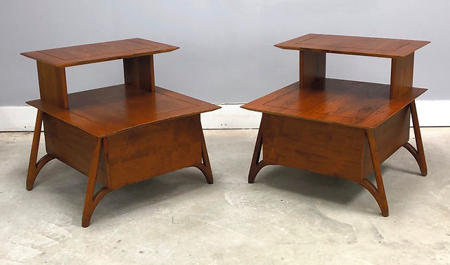 MCM Pair Of Walnut Two Tier Nightstands On Sculpted Legs