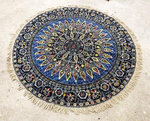 Vintage Kebistan Round Blue Rug 5 FT