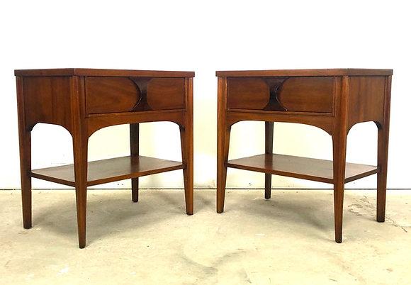 Pair Mid-Century Modern Rosewood & Pecan Nightstands By Kent Coffey
