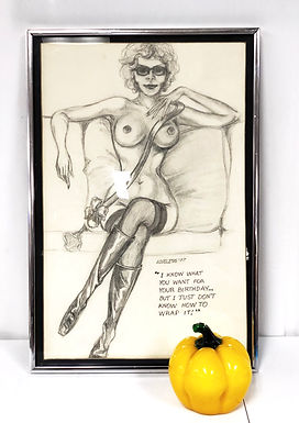 """Vintage Mid-Century Abstract Pencil Drawing """"Woman Figure Nude"""""""