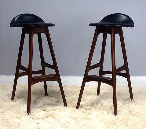 Mid-Century Danish Modern Erik Buch Buck Pair Rosewood & Teak Bar Stools