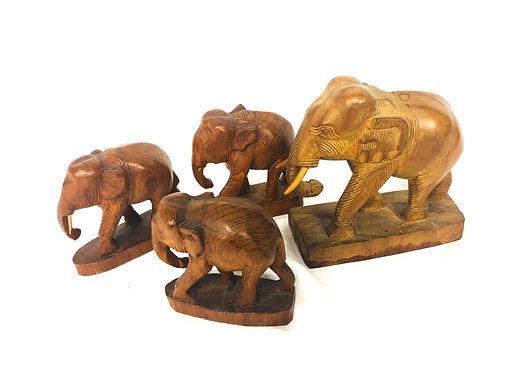Set of 4 Hand Carved Elephants