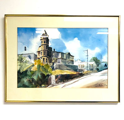 Watercolor Painting of Houses Signed By Jean M. Wilson