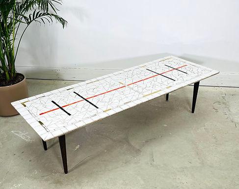 Mid-Century Modern Mosaic Tile Top Coffee Table