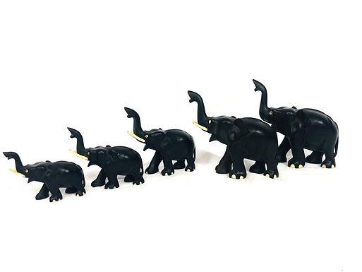 Set of 5 Vintage Dark Wood Elephants
