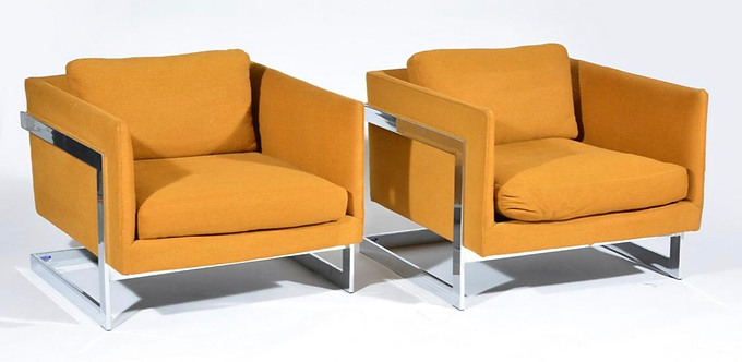 Pair of Rare Variant Milo Baughman Lounge Chairs With Chrome Frame