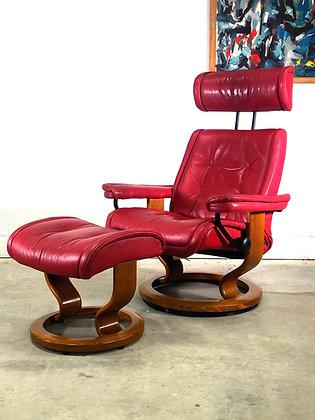 mid century Ekornes Stressless Lounge Chair & Ottoman