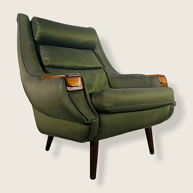 1960s Danish Modern Green Upholstered Lounge Chair