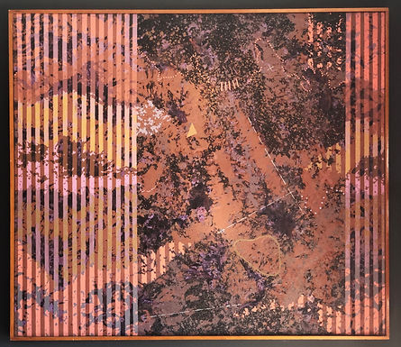 1976 Acrylic On Canvas By Carl Caivano, Space Scape Scanned