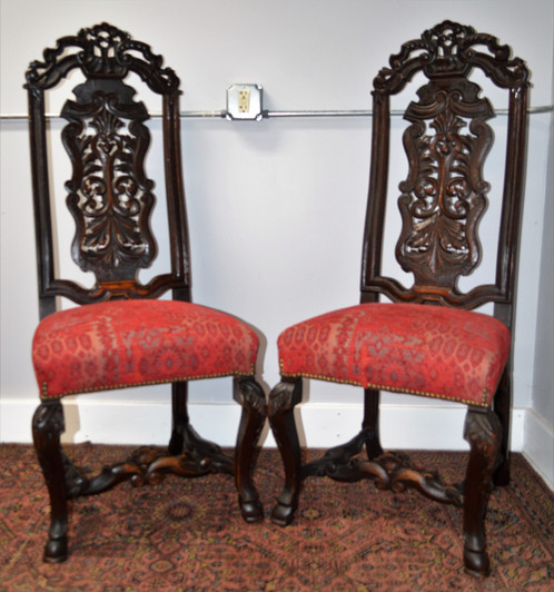 Antique Pair Of Ornate Carved High Back Chairs