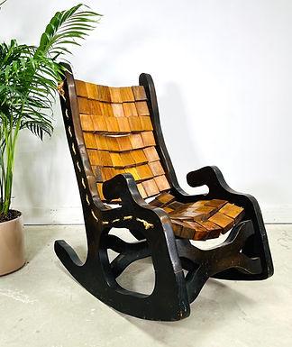 Vintage Woodblock Rocking Chair