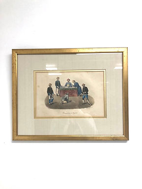 Circa 1800s Lithograph A Culprit Before Magistrate in a Chinese Court