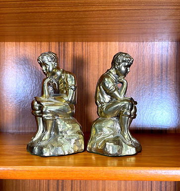 Vintage Pair Brass Bookend of Reading Book