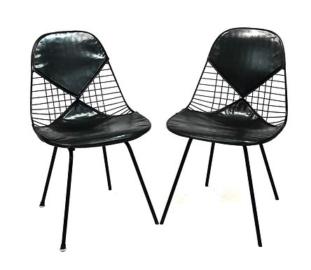 Pair Of Authentic Eames Herman Miller DKY-2 Black Bikini Chairs