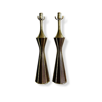 Beautiful Pair Mid-Century Modern Brass & Wood Table Lamps