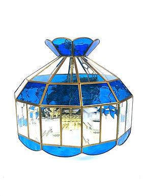 Vintage Chandelier Pendant Glass Panel Light Fixture