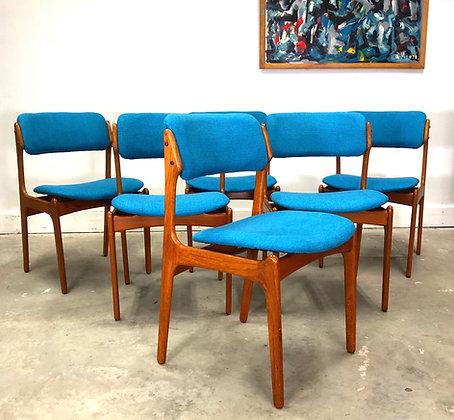Erik Buch, Set 6 Danish Teak Dining Chairs