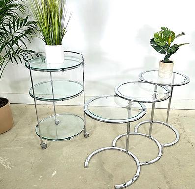 Set 4 Chrome & Glass Bar Cart & Nesting Table Eileen Gray Style
