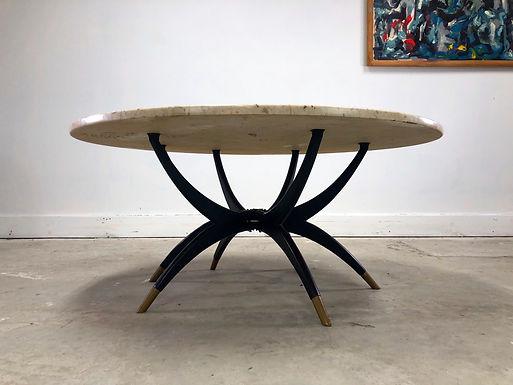 Italian Travertine Stone Top  Spider Coffee Table