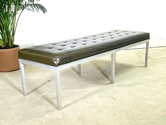 Mid Century Modern Leather & Chrome Tuffted Bench Knoll Style