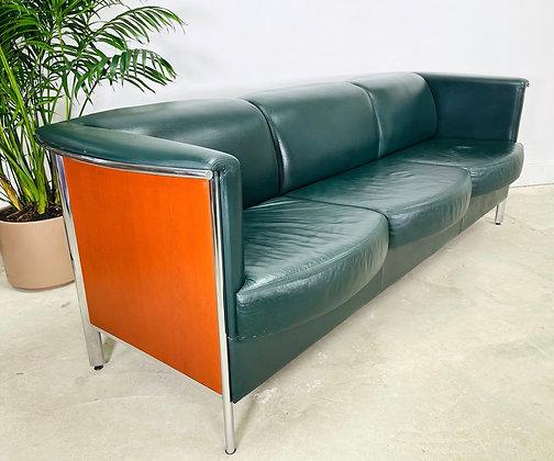 Vintage Teak & Chrome Office Leather Sofa