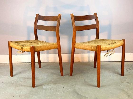 Pair MCM Danish Teak J.L. Møller Model 84 Chairs With Woven Seat