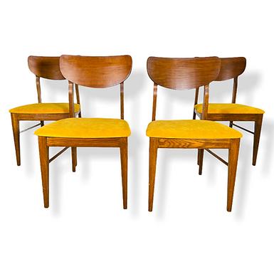 Set 4 Mid Century Modern Oak & Walnut Dining Chairs
