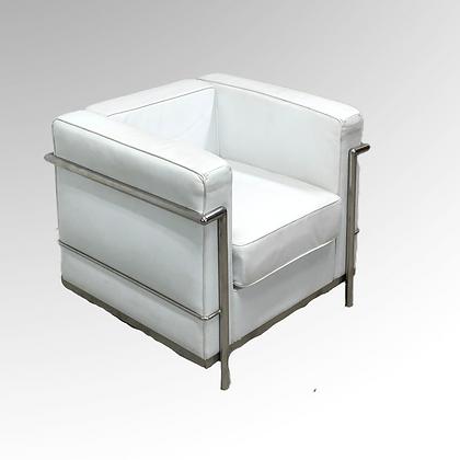 Vintage Le Corbusier LC2 Style White Leather Armchair