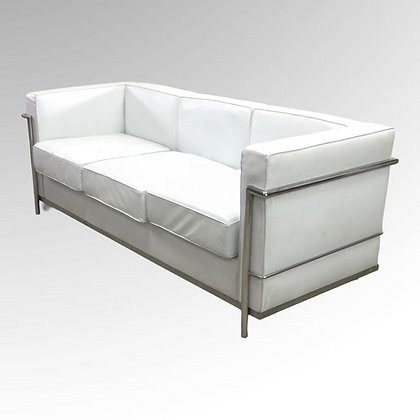 Mid-Century Italian Modern Le Corbusier LC2 Three-Seat Leather Sofa