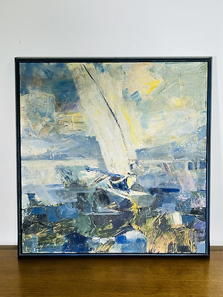 Mid-Century Modern Abstract Painting Signed